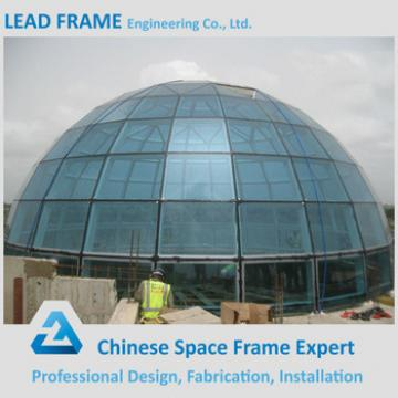 High Rise Long Span Prefab Steel Space Frame Building Glass Dome Cover
